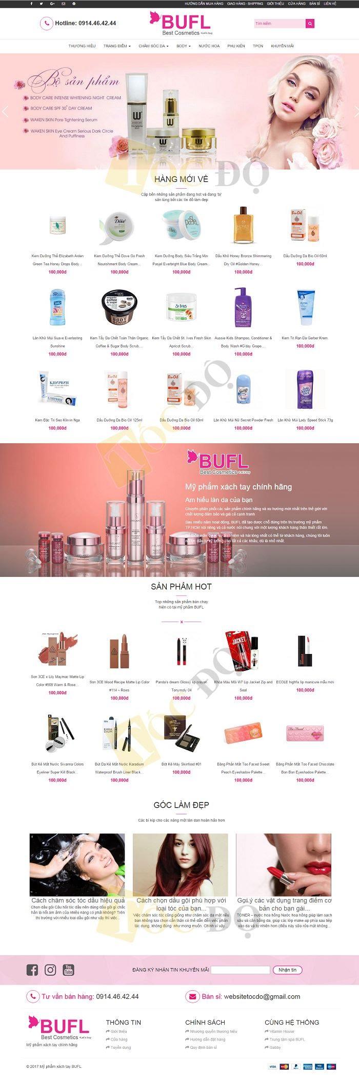 mẫu website bán mỹ phẩm đẹp