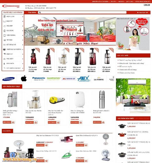 Mẫu website bán đồ gia dụng