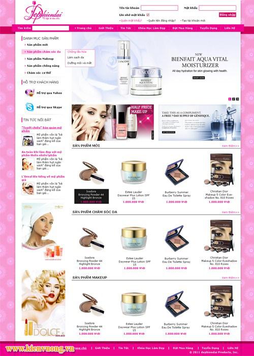 Mẫu website bán hàng về mỹ phẩm, dụng cụ làm đẹp