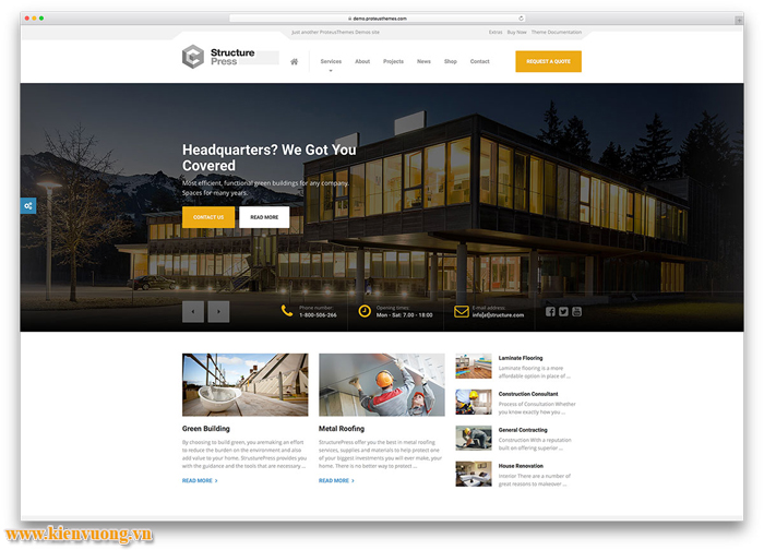 Mẫu website ngành xây dựng đẳng cấp