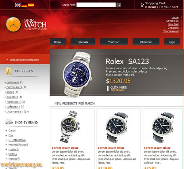 Mẫu web bán đồng hồ