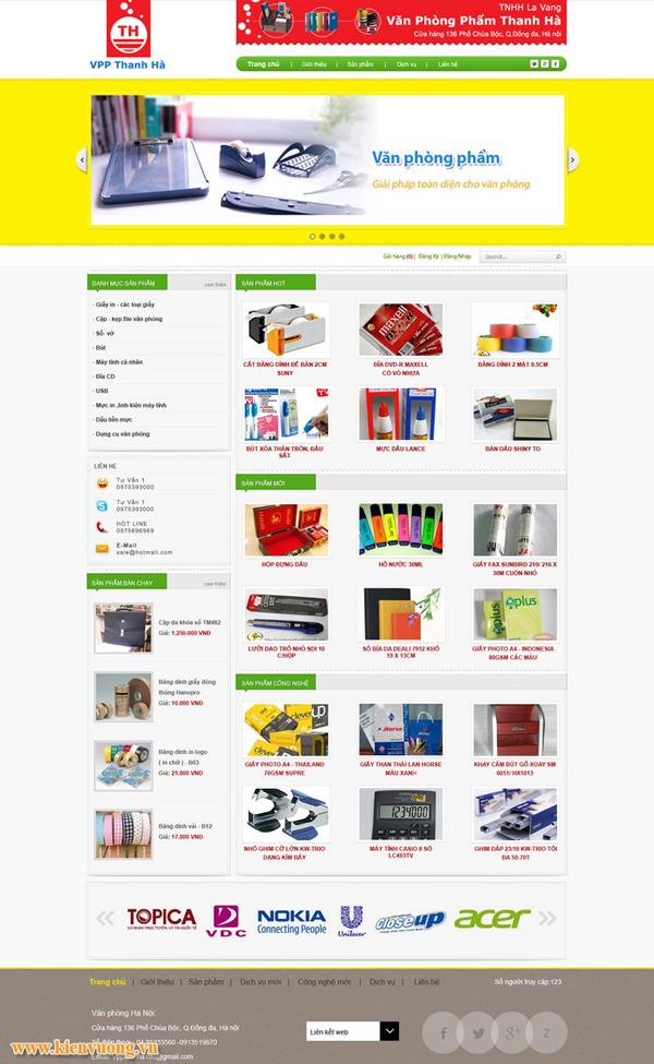 Mẫu website bán đồ văn phòng phẩm