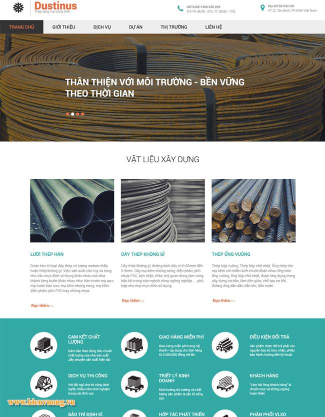 Thiết kế web kinh doanh vật liệu xây dựng