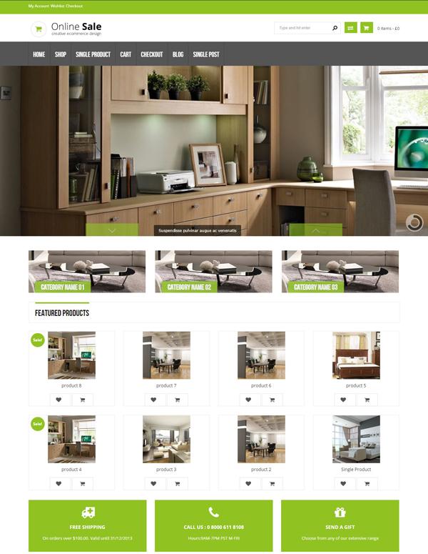 Mẫu thiết kế website bàn ghế, tủ quần áo