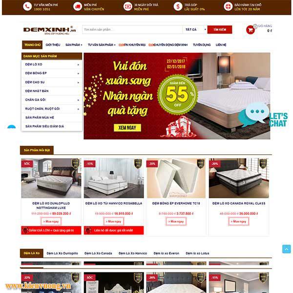 Thiết kế website chăn ga gối đệm sang trọng