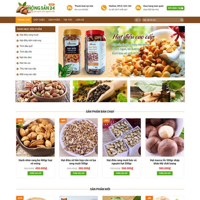 Thiết kế website bán hạt dinh dưỡng