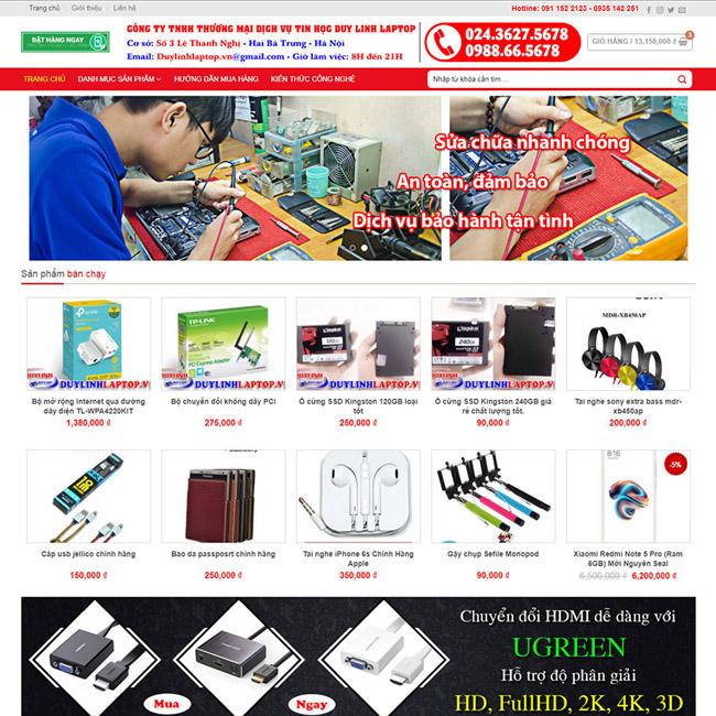 Thiết kế website bán linh kiện điện tử, điện thoại, máy tính