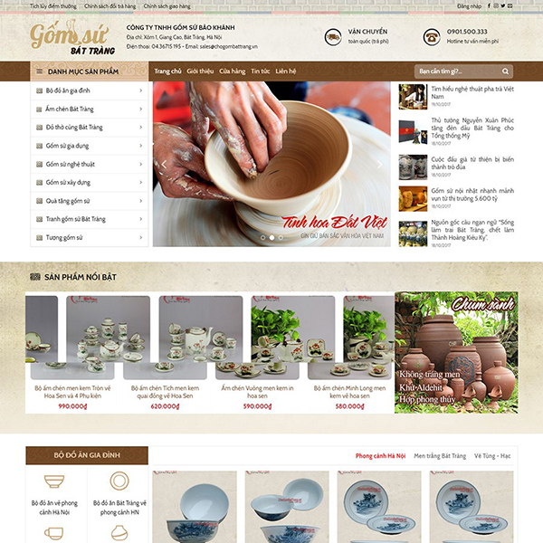 Thiết kế trang web bán đồ gốm