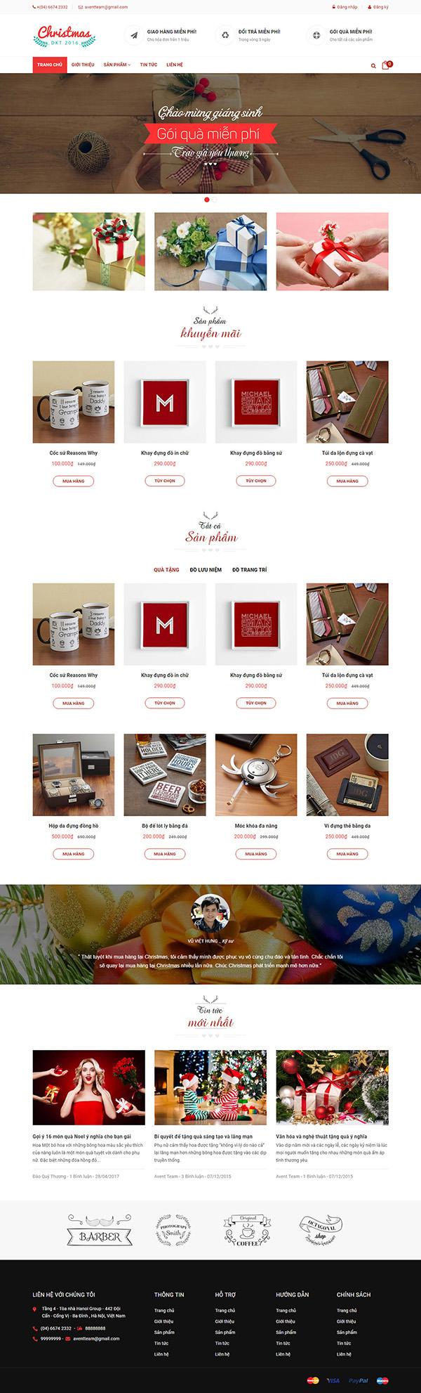 Thiết kế website bán quà tặng