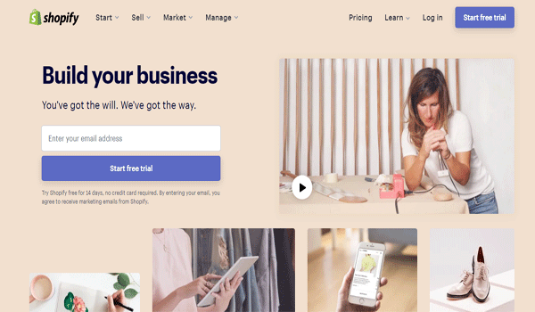 Giao diện Shopify