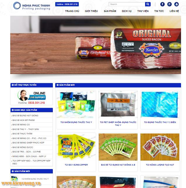 Thiết kế website công ty sản xuất bao bì