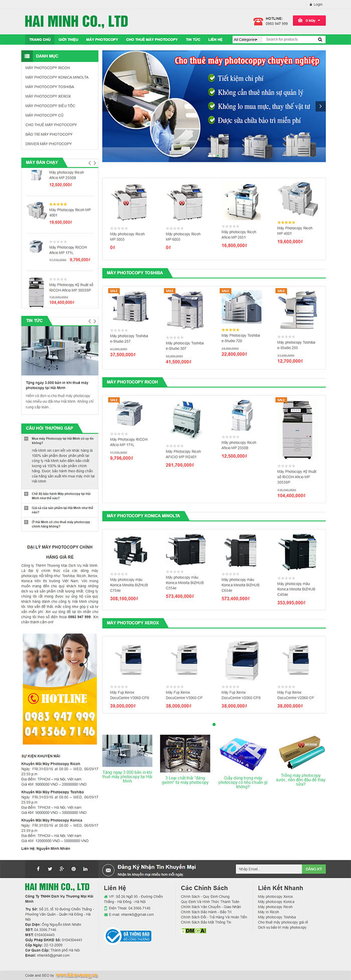 Dịch vụ thiết kế website máy in máy photocopy