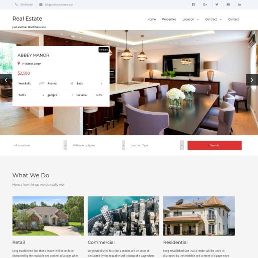 Real Estate Lite – Theme bất động sản WordPress miễn phí có tính năng tìm kiếm