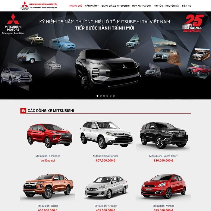 Thiết kế website bán xe Mitsubishi