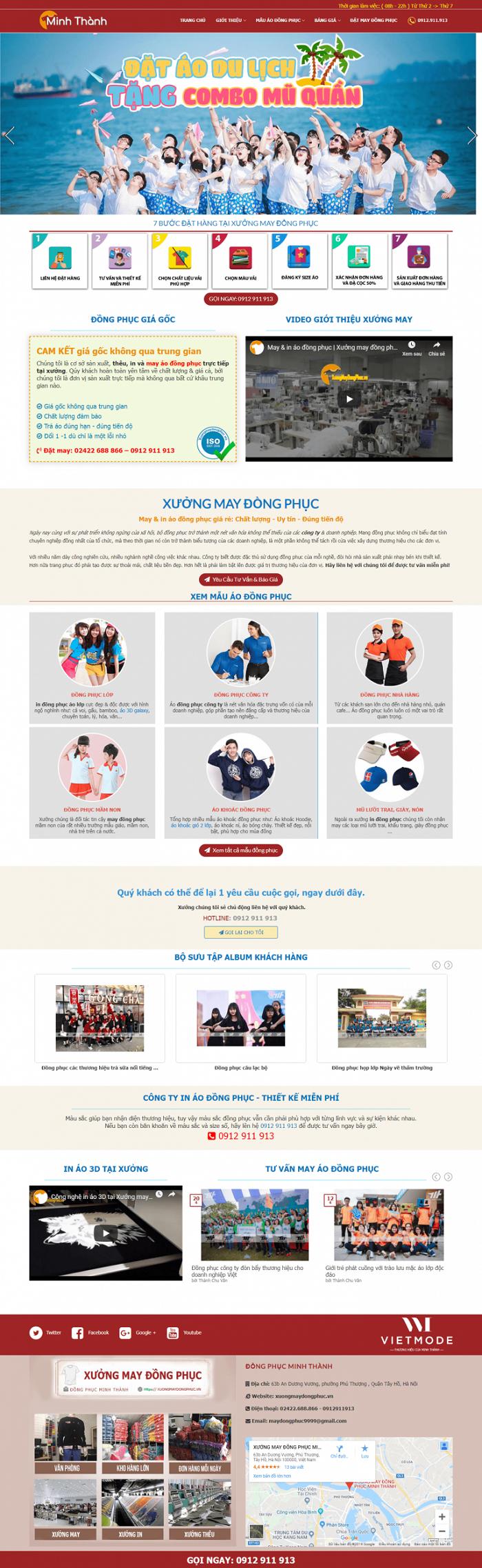 Thiết kế web xưởng may mặc thời trang