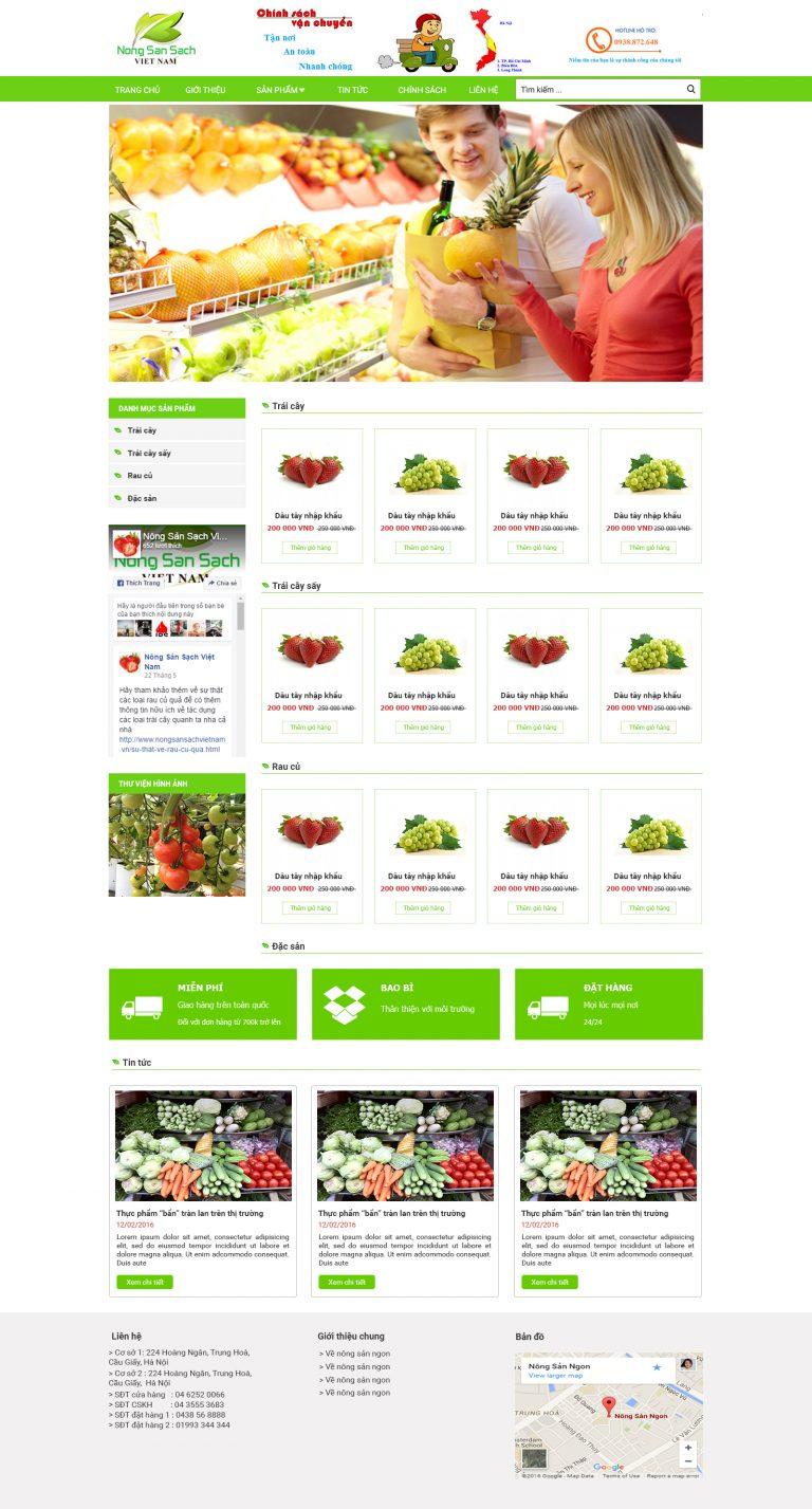 Thiết kế website bán nông sản
