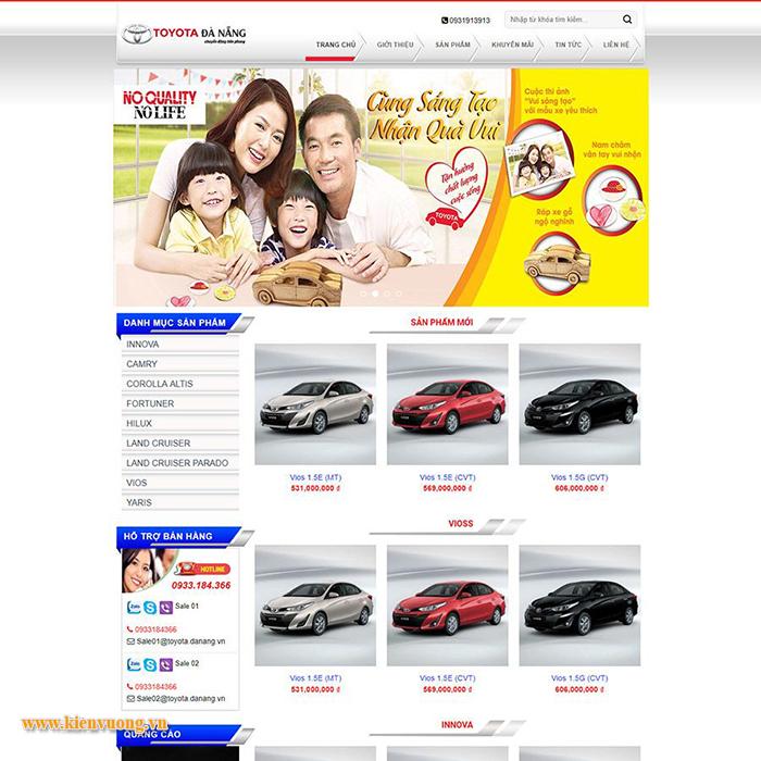Mẫuthiết kế web bán xe Toyota đẹp